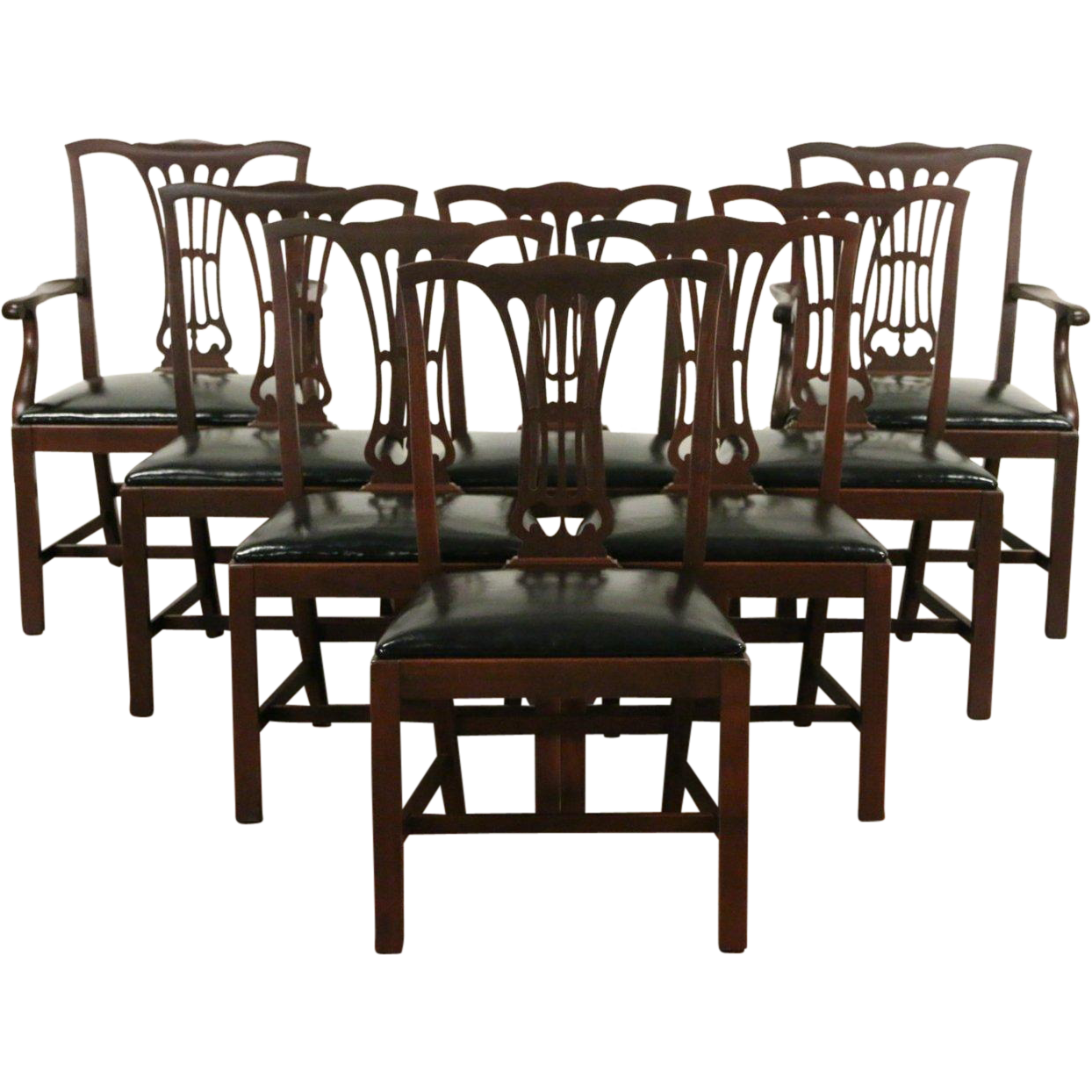 Set of 8 Georgian Vintage Mahogany Chairs, Black Leather, Unsigned Kittinger