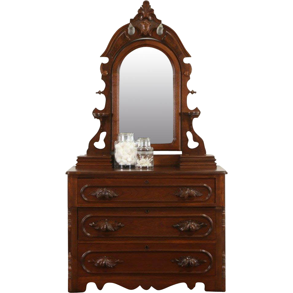 Victorian 1870 Antique Walnut Chest or Dresser Jewel Boxes, Mirror, Carved Pulls