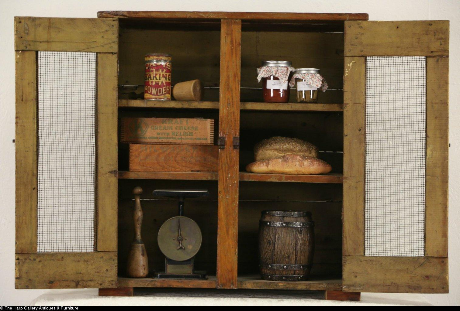 Roll over Large image to magnify, click Large image to zoom - Rustic Country Pine 1900 Antique Pantry Pie Safe From Harpgallery
