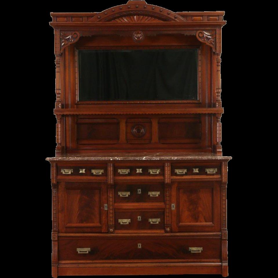 Victorian Eastlake 1880 Antique Cherry Sideboard Back Bar, Marble Top, Mirror
