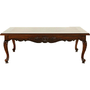 Country French Vintage Hand Carved Ash & Oak Coffee Table