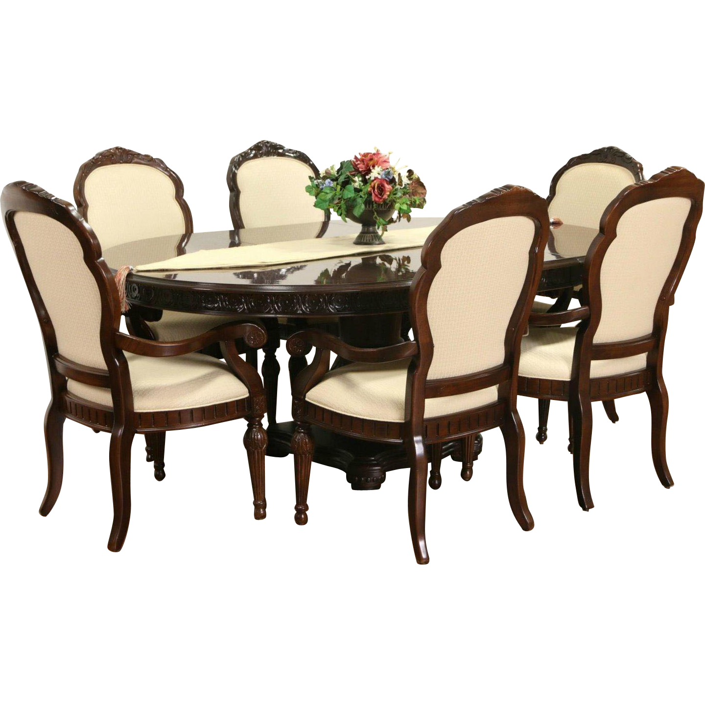Bernhardt Signed Round Cherry Dining Set, Table & Leaf, 6 Armchairs