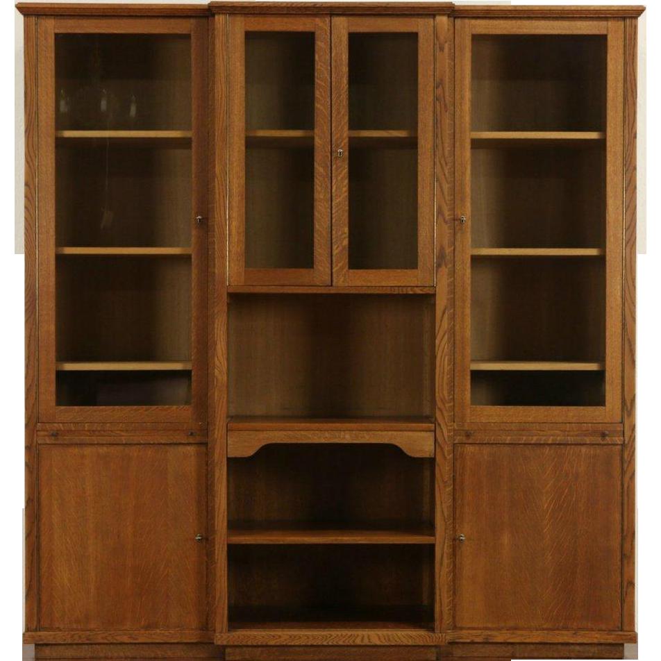 Oak 1960 Vintage European Desk, Bookcase & Bar Cabinet