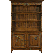 Pewter Cupboard or Welsh Dresser,  Signed Vintage Fruitwood with Grapevine Motif