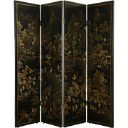 Chinese Hand Painted 4 Panel Black Lacquer Vintage Screen