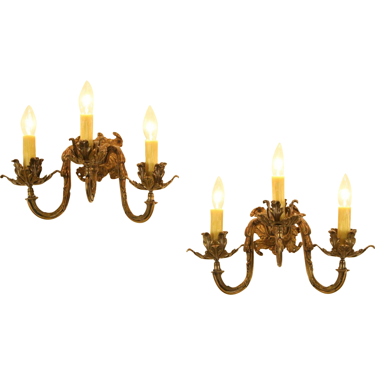 Pair of Brass 1910 Antique Triple Candle Wall Sconce Lights