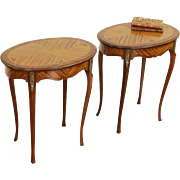 Pair 1930's Vintage Oval Marquetry Lamp or End Tables