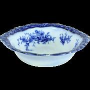 """Flow Blue 1880's Antique Touraine 10 1/2"""" Serving Bowl"""