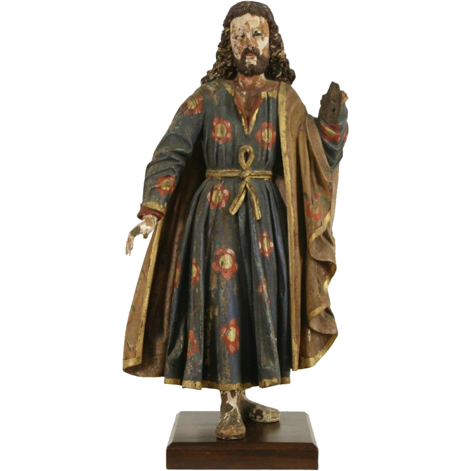 Santo Sculpture of Jesus, Spanish Colonial Latin American Statue, early 1800's