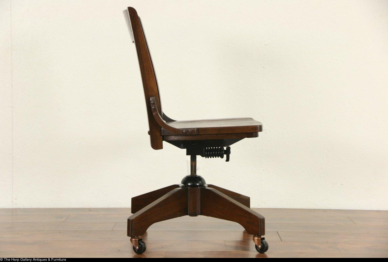 Swivel Adjustable Vintage Oak Desk Library Or Office Chair From . Full resolution‎  photo, nominally Width 1513 Height 1024 pixels, photo with #2E1E12.