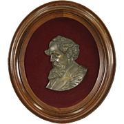 Charles Dickens Bust, Antique 1870's Bronze Plaque, Walnut Frame