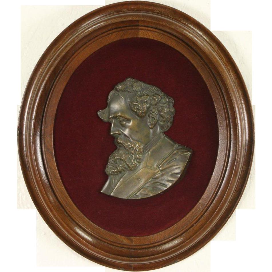 Charles Dickens Bust, Antique 1870's Bronze Plaque, Walnut Frame