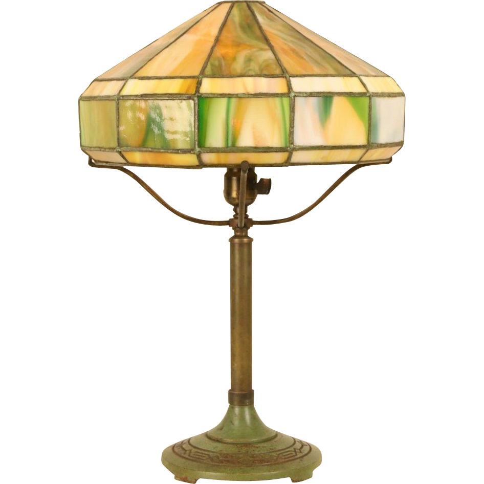 Bradley & Hubbard Signed 1915 Antique Lamp, Stained Leaded Glass Shade