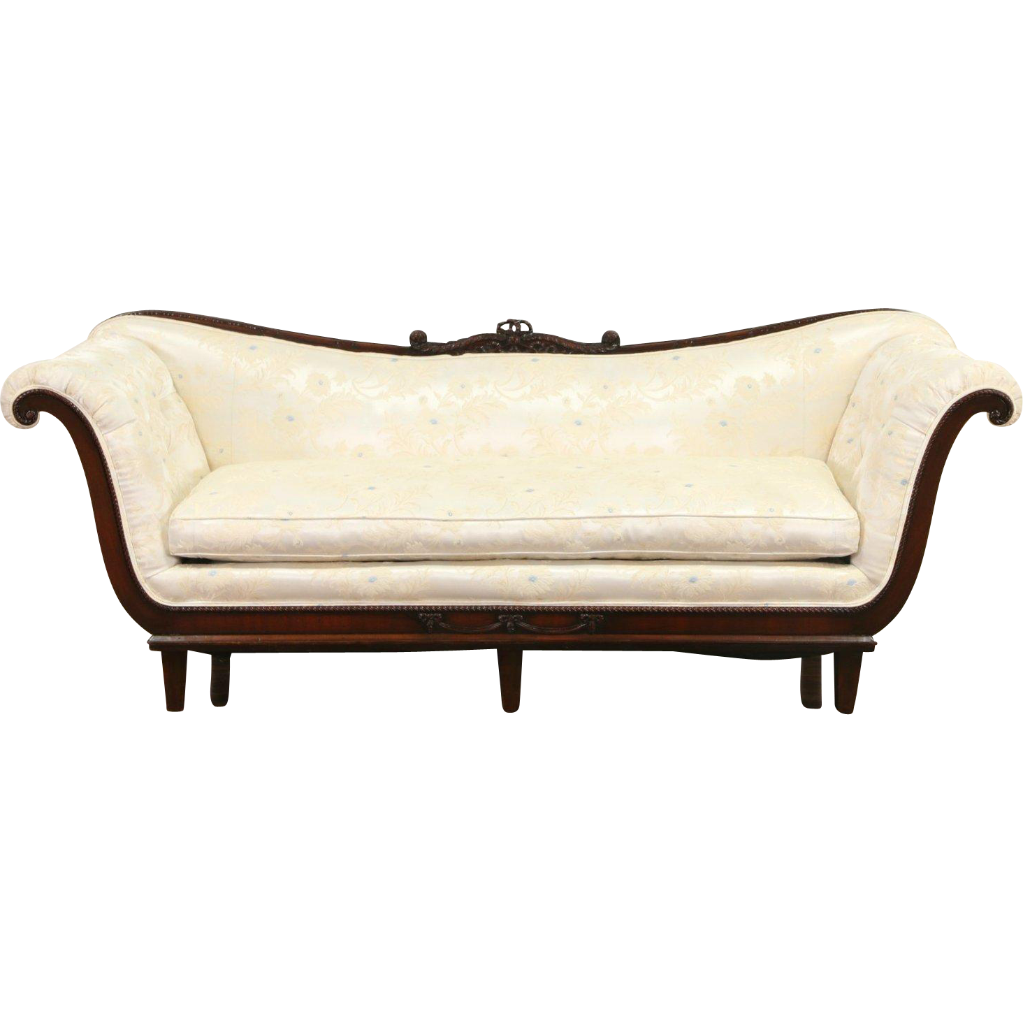 Regency 1950 Vintage Carved Mahogany Sofa