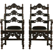 Pair Renaissance Carved Oak 1920 Antique Armchairs, Signed Meade & Wheeler