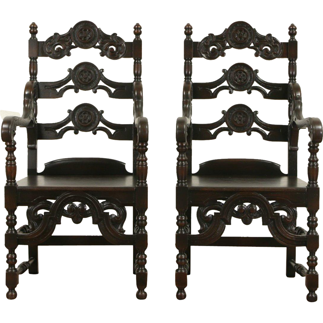 Pair Renaissance Carved Oak 1920 Antique Armchairs, Signed Meade & Wheeler