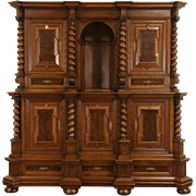 German Renaissance Carved Oak 1890's Antique Back Bar Sideboard Cabinet