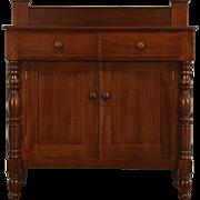 Empire 1820's Antique Sideboard Server or Buffet, Chimney Pot Backsplash