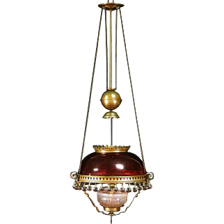 Victorian 1880 Antique Hanging Light Kerosene Lamp, Cranberry Shade, Ball Prisms