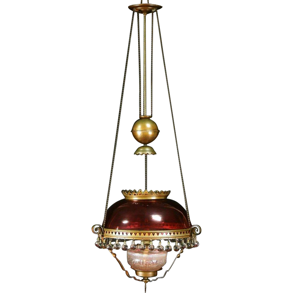 Victorian 1880 Antique Hanging Light Kerosene Lamp, Cranberry Shade, Ball Prisms