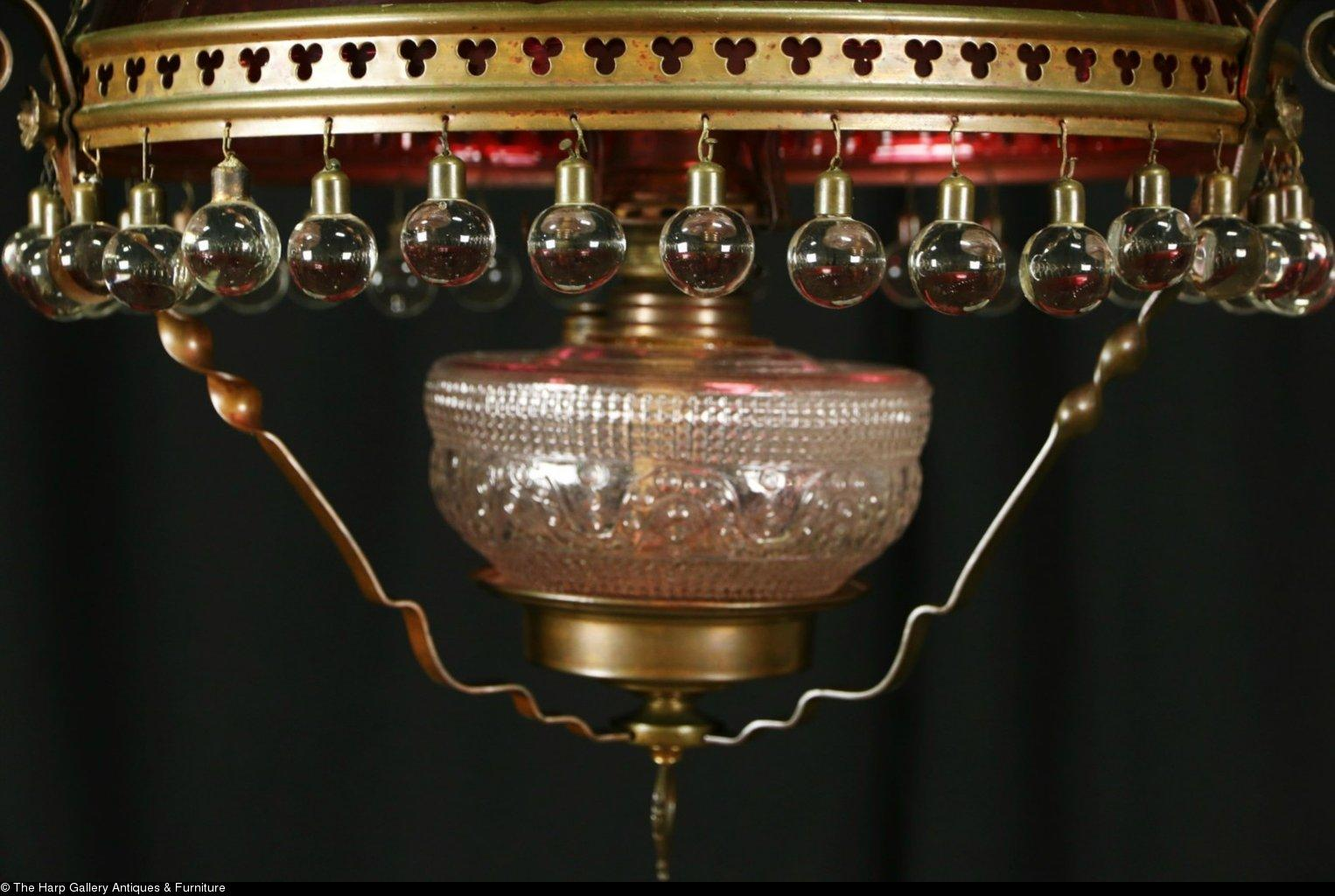 Victorian 1880 antique hanging light kerosene lamp cranberry roll over large image to magnify click large image to zoom arubaitofo Gallery