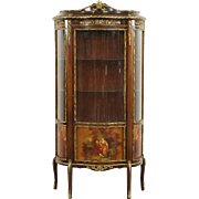 French 1920 Curved Glass Vitrine Curio Display Cabinet, Brass Mounts, Paintings