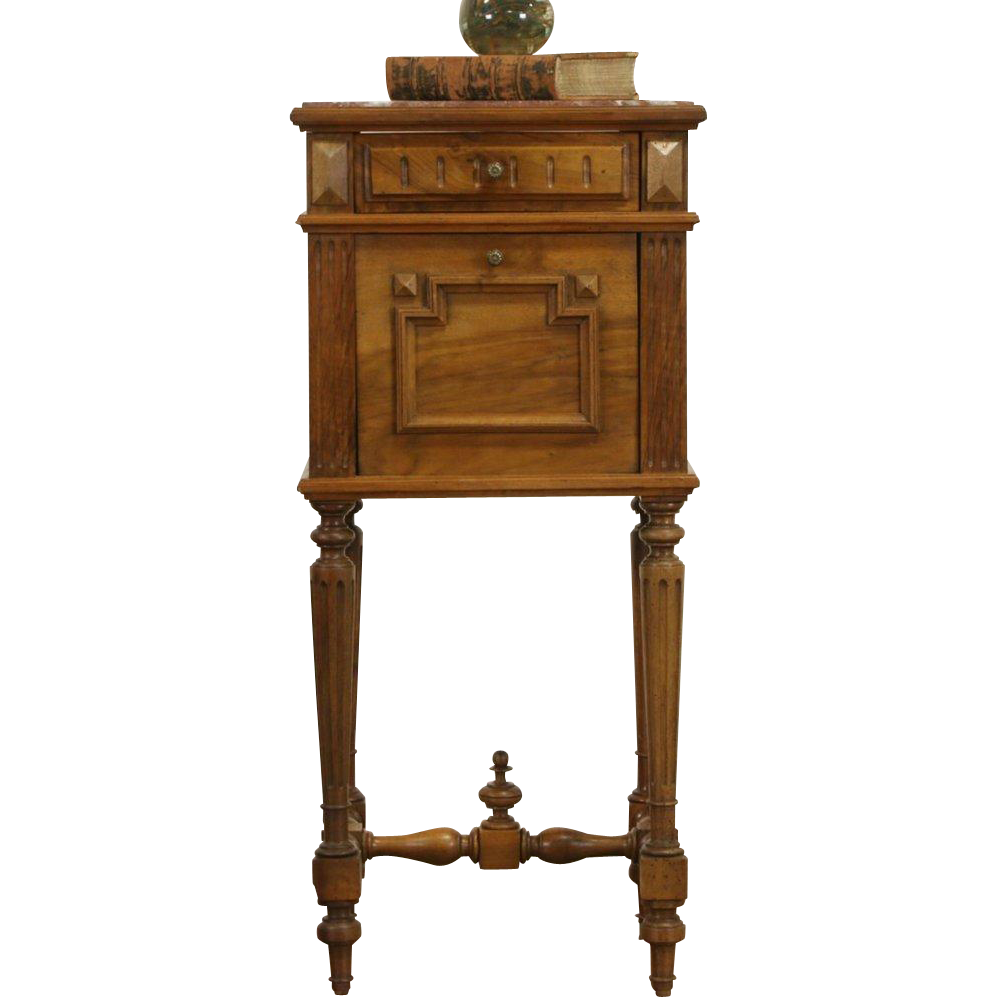 French 1890 Antique Red Marble Top Walnut Nightstand or Pedestal Cabinet