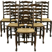 French Set of 6 Oak Rush Seat 1930's Vintage Country Dining Chairs