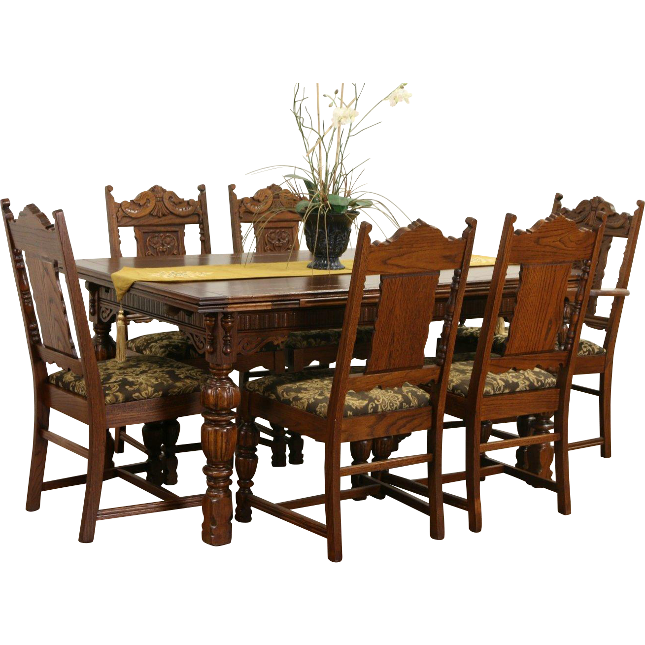 English Tudor 1920 Antique Carved Oak Dining Set, Table & 6 Chairs