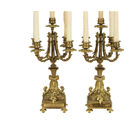 Pair of French Gilt Bronze 5 Candle 1860's Antique Candelabra