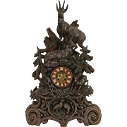 Black Forest 1880's Antique Walnut Clock, Carved Deer, Signed Bern, Switzerland