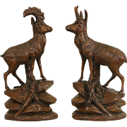 Black Forest Carved Pair of Deer & Ram Sculptures, 1880's Antique Walnut