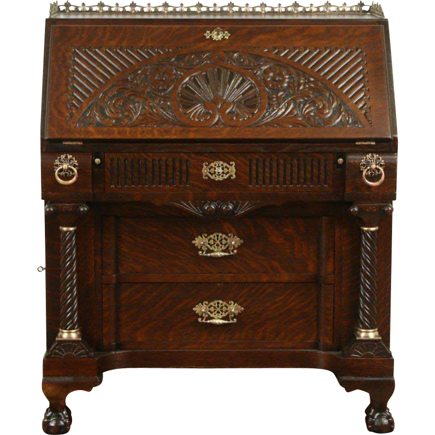 Oak Carved 1890 Antique Secretary Desk, Secret Compartments, Spiral Columns