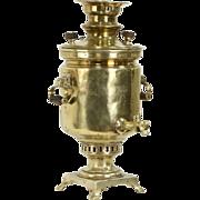 Russian Antique 1900 Brass Samovar Tea Kettle, Czarist Era Seal Stamps