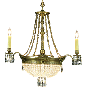 Regency Style 1940's Vintage Chandelier, Bronze Finish, European Crystal Prisms