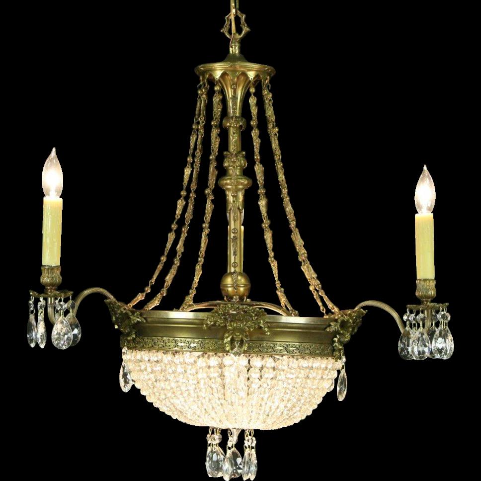Regency Style 1940's Vintage Chandelier, Bronze Finish, European Crystal Prisms