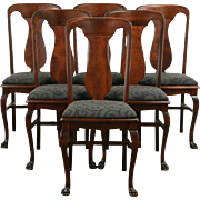 Set of 6 Empire 1900 Antique Dining Chairs, Paw Feet, New Upholstery