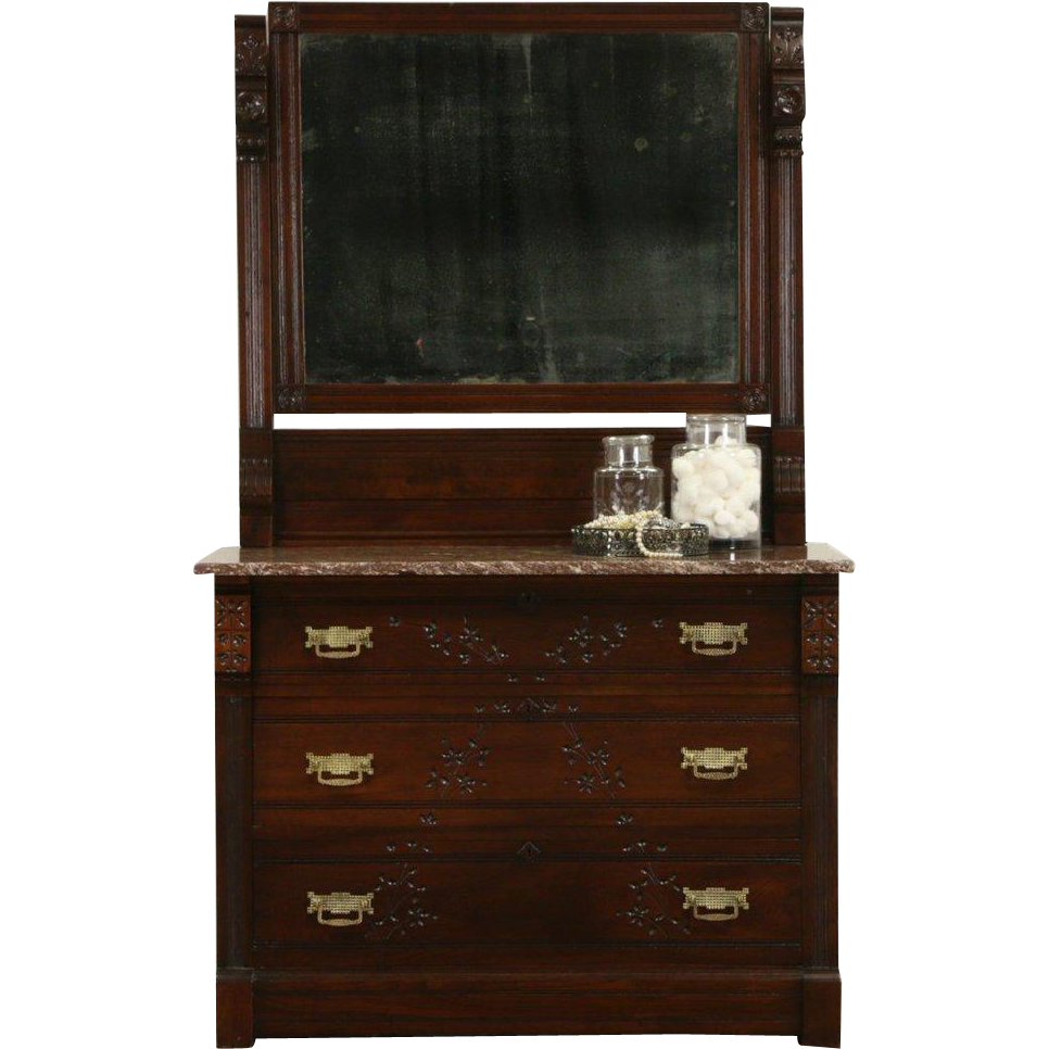Victorian Eastlake 1870's Spoon Carved Walnut Chest or Dresser, Mirror & Marble