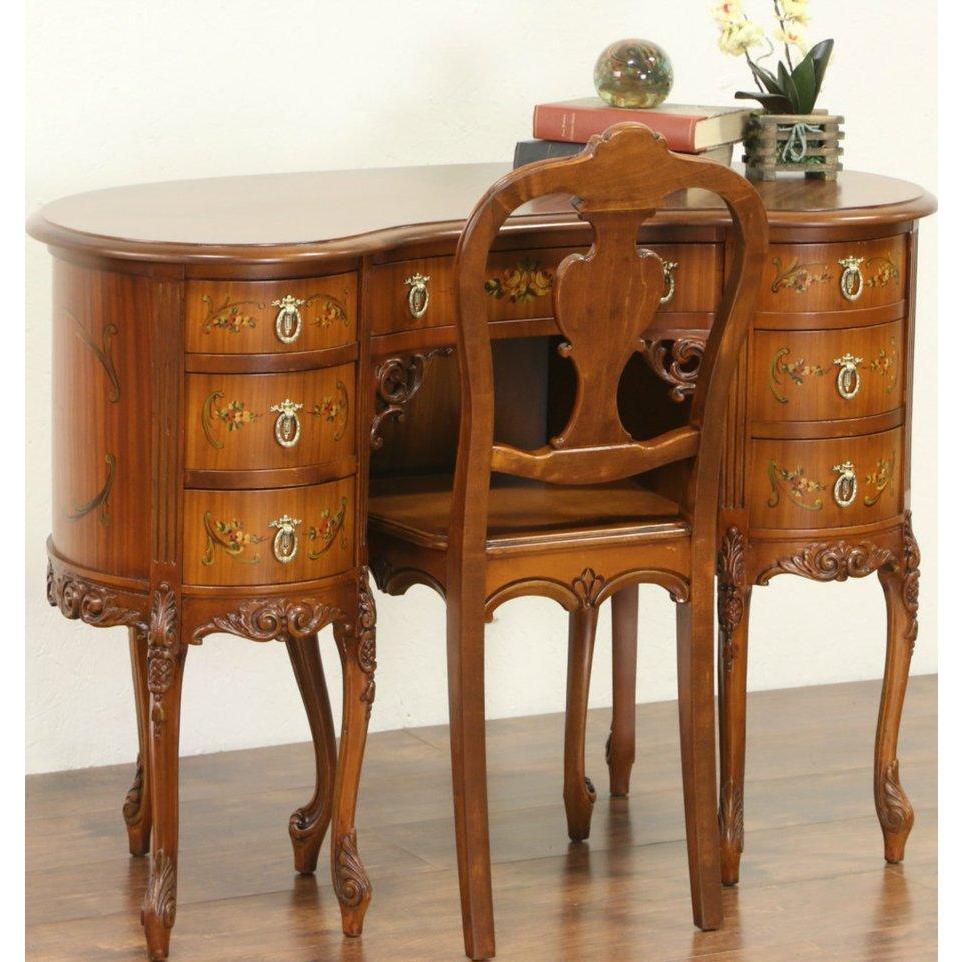 Hand Painted Satinwood 1925 Kidney Shape Desk & Chair Set