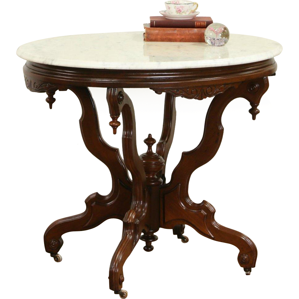 Victorian Oval Antique 1870's Pedestal Parlor Lamp Table, Marble Top