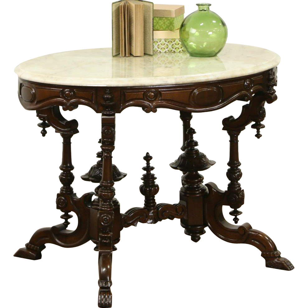 Victorian 1860's Antique Double Pedestal Lamp or Parlor Table, Marble Top