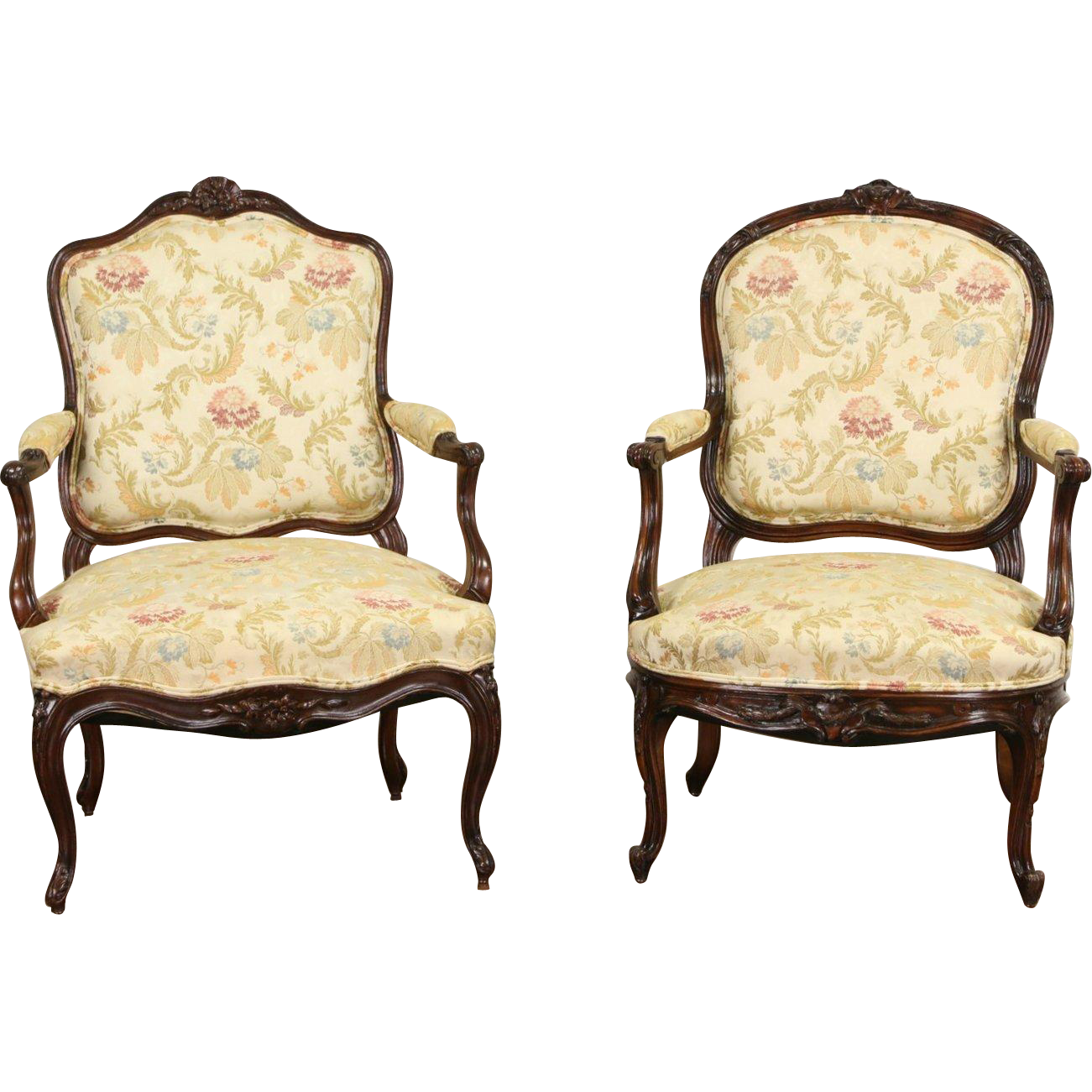 Pair of Similar French 1900 Antique Hand Carved Walnut Chairs