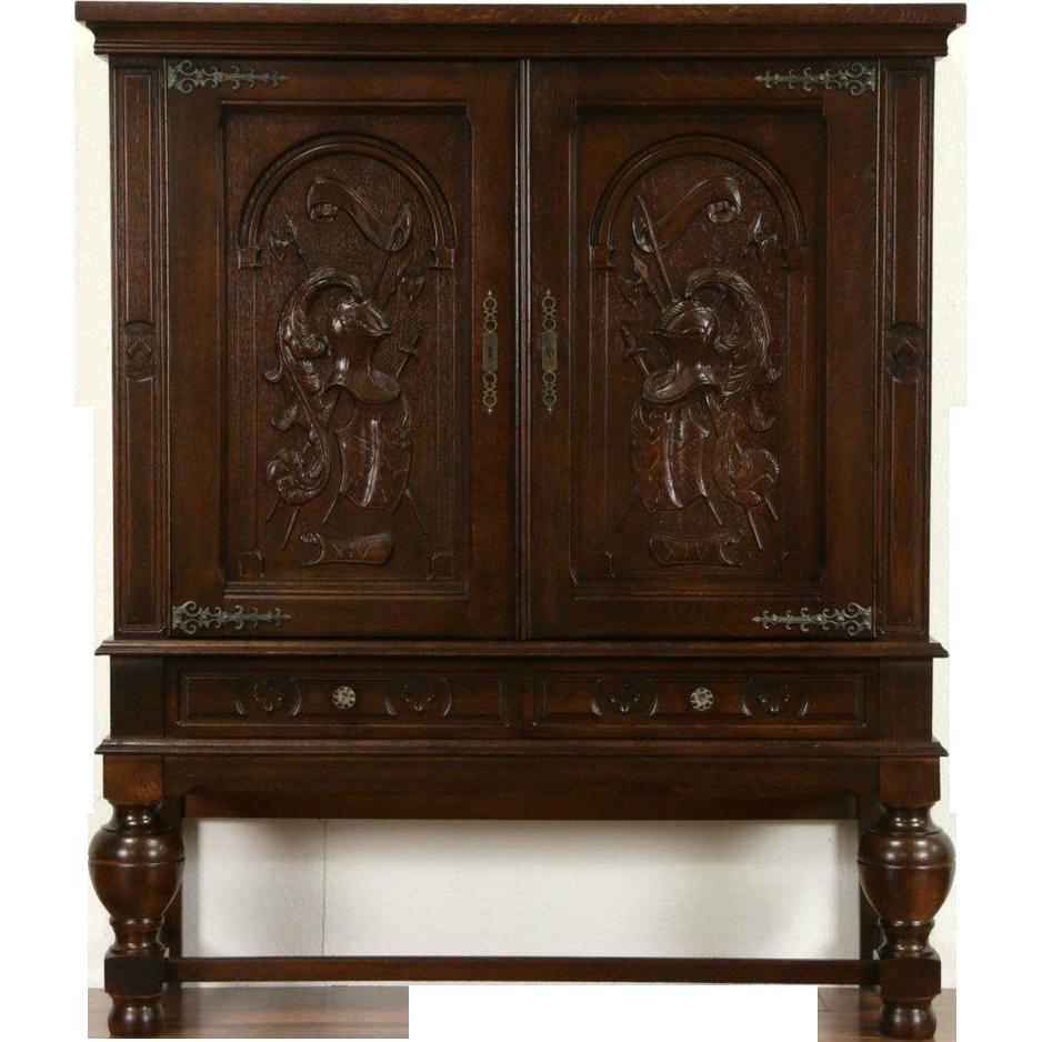 Renaissance Carved Oak Cabinet, Armor & Crests, Scandinavian 1940's Vintage