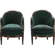 1930's Pair Vintage Carved Country French Chairs, Recent Mohair Upholstery