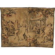 French 1910 Antique Tapestry, Village Dancing Scene