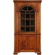 Georgian 1820's Antique Pine Corner Cabinet or Cupboard