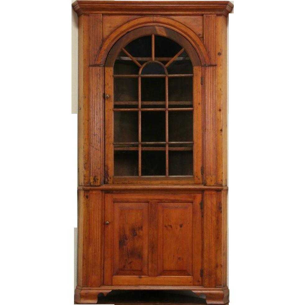 Georgian 1820's Antique Pine Corner Cabinet or Cupboard