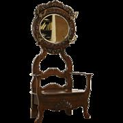 Victorian 1900 Antique Oak Hall Bench, Beveled Mirror & Storage
