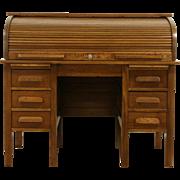 Solid Oak 1910 Antique C Shape Rolltop Desk, Pull Out Shelves
