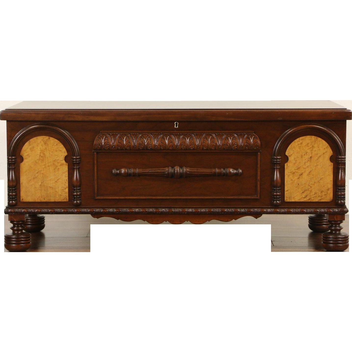 English Tudor 1930 Vintage Cedar Lined Blanket Chest Bench